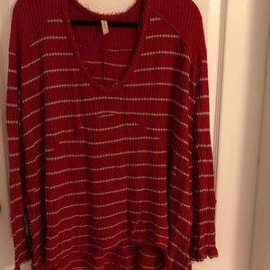 Free People Striped Thermal Tee